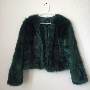 Forever 21 Forest/Hunter Green Fur Coat